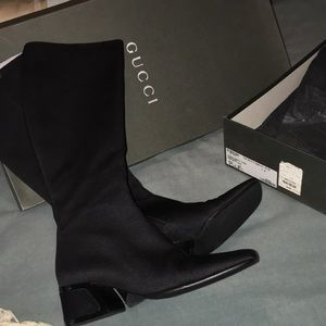 GUCCI BLACK knee high block heel NEW